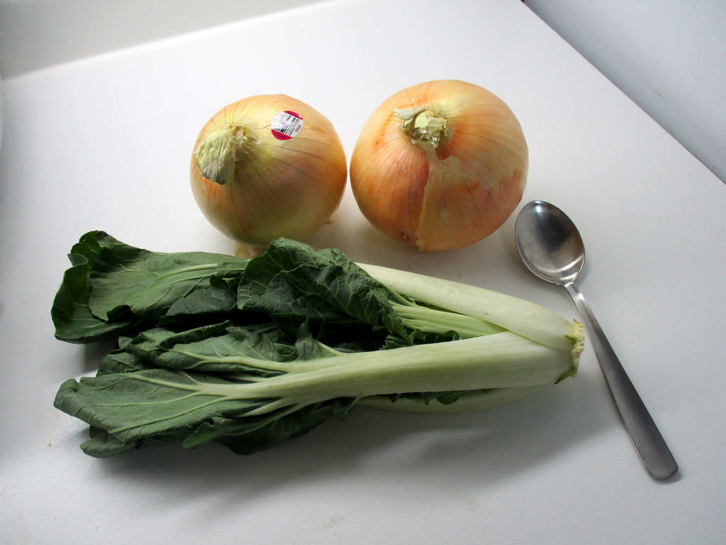 High angle view of large onions with bok choi and spoon for scale