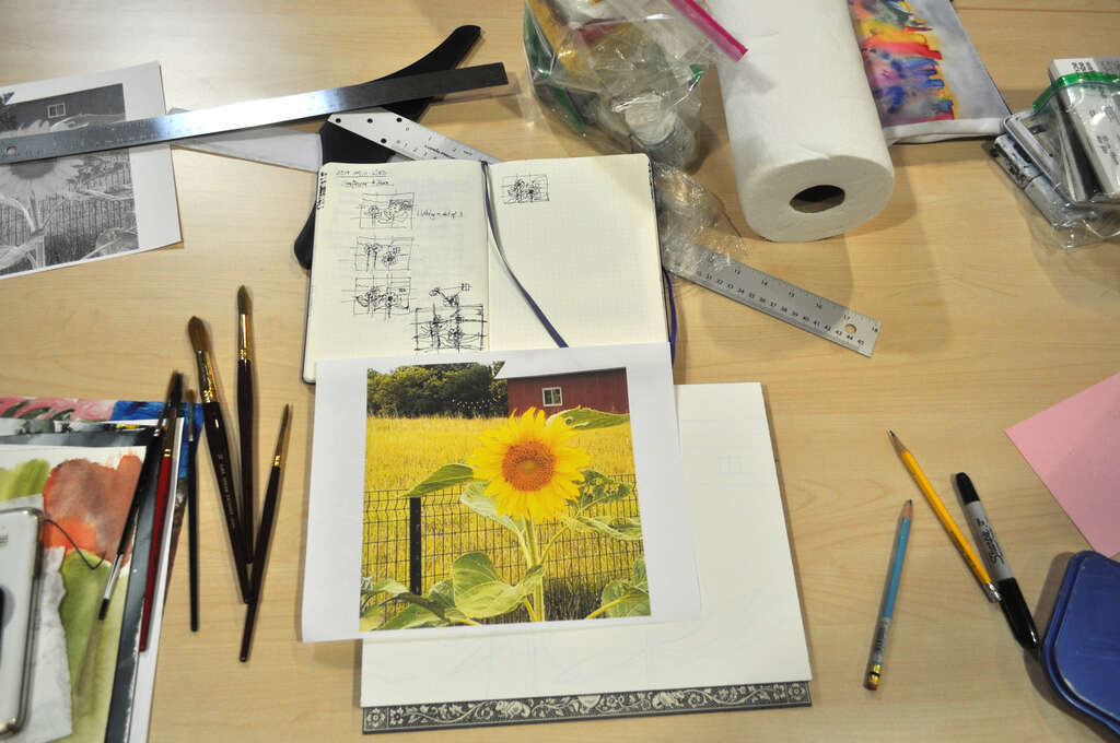Preparation for painting sunflowers and barn