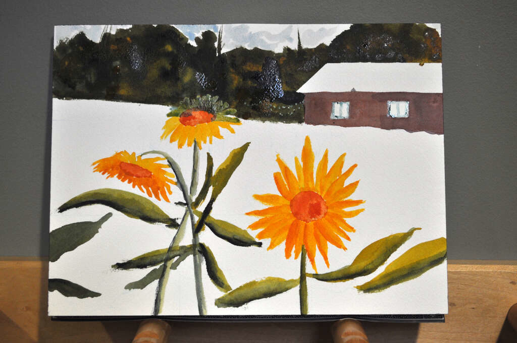 painting of sunflowers with barn and woods in background, added woods