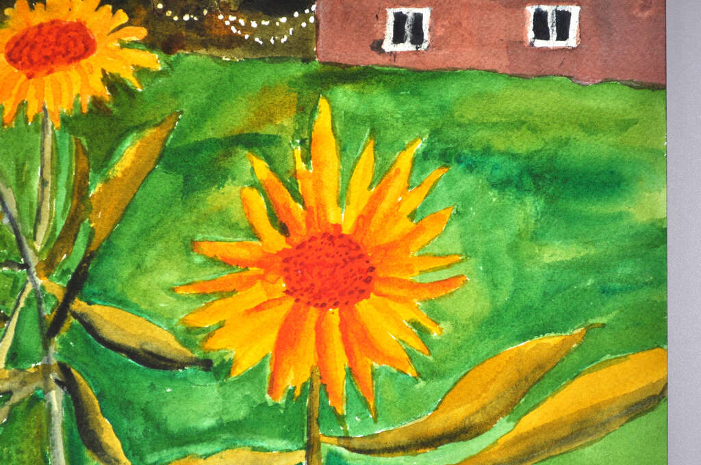 painting of sunflowers with barn and woods in background, close-up detail on main blossom