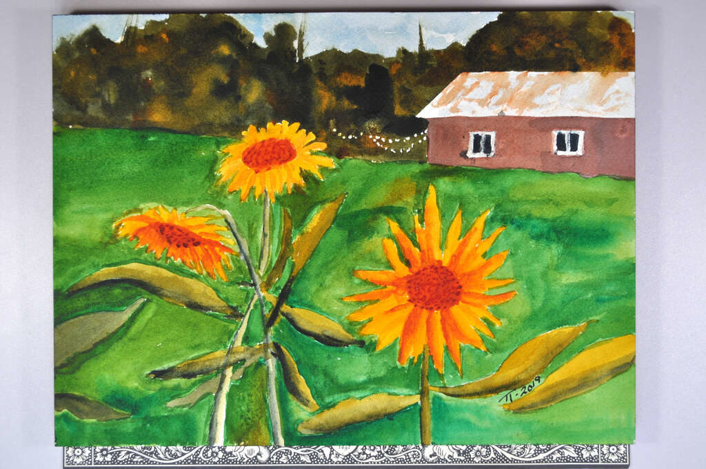 painting of sunflowers with barn and woods in distance, completed and signed