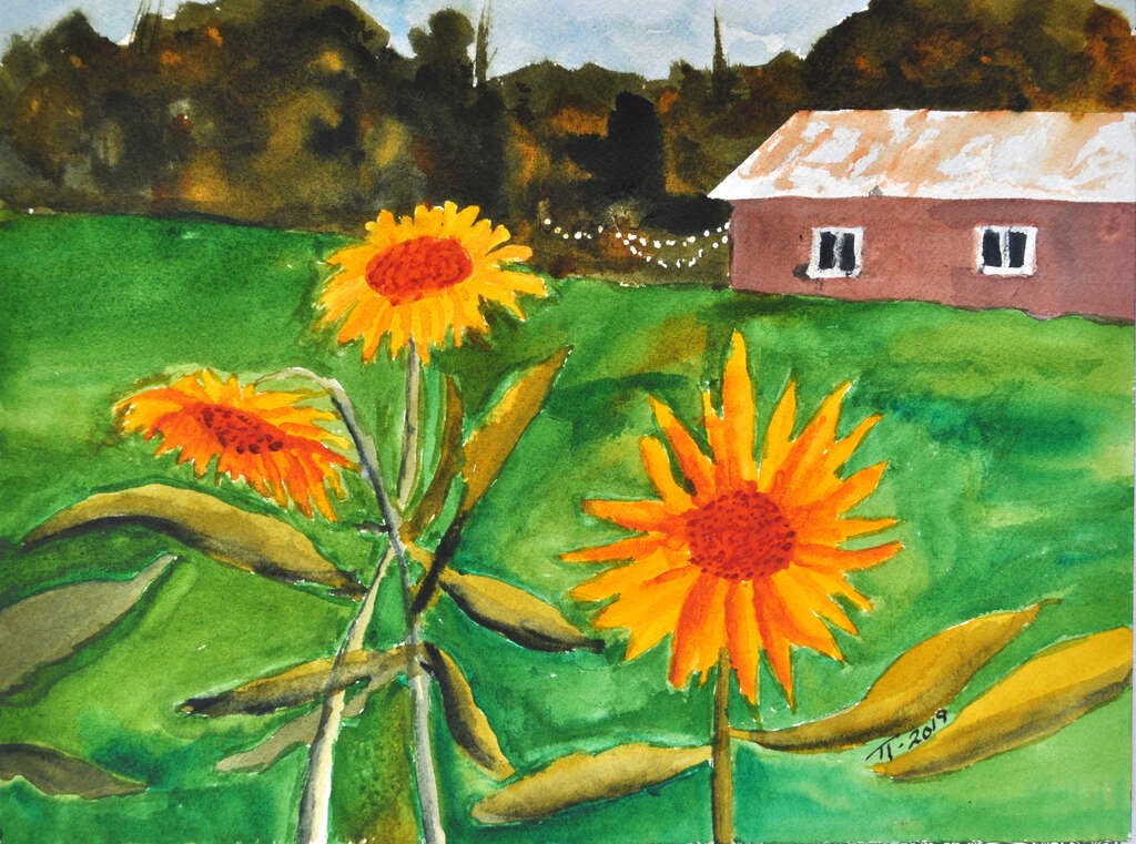 painting of sunflowers in front of a barn, final version, signed, cropped image