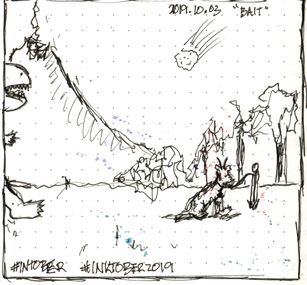 sketch of a goat tied to a post, a T-rex just appearing in the frame, volcano smoking in the background and an incoming meteor