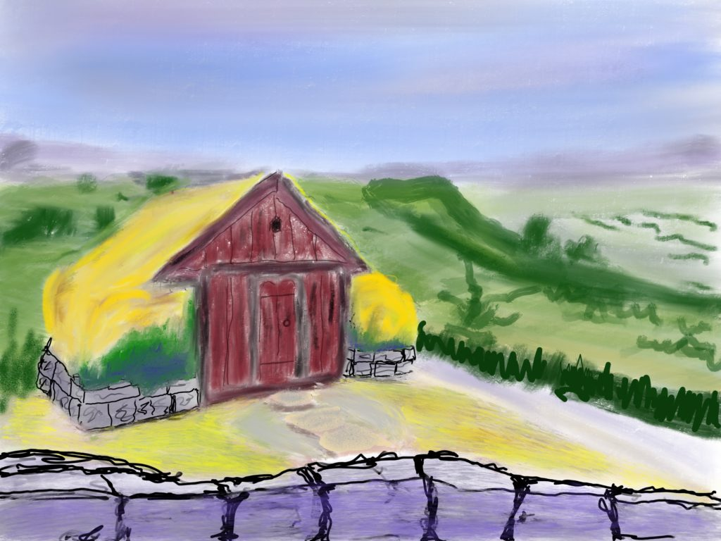 digital painting of a small grass-roofed hut in the mountains.
