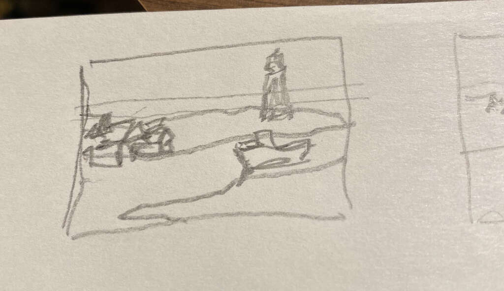 thumbnail sketch for painting of Maritime landscape of Fishing trawler and a Lighthouse