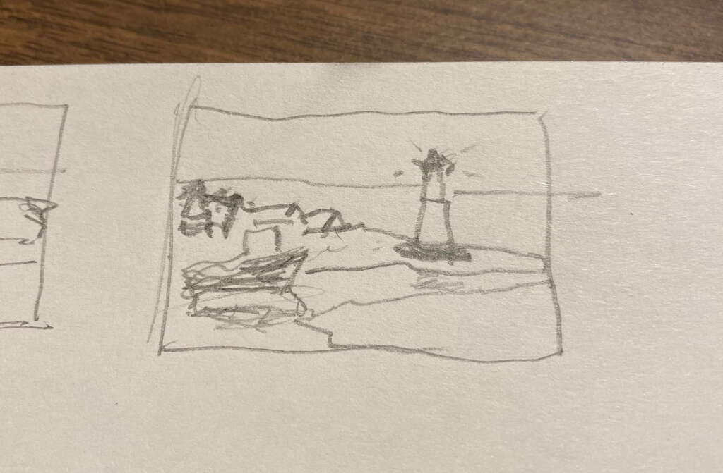 Another thumbnail image for the Maritime landscape of Fishing trawler and a Lighthouse