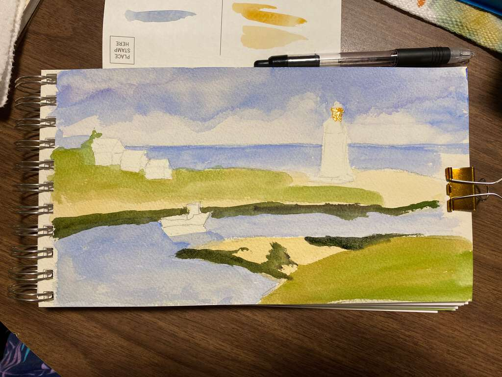 Colour study for Maritime landscape of Fishing trawler and a Lighthouse