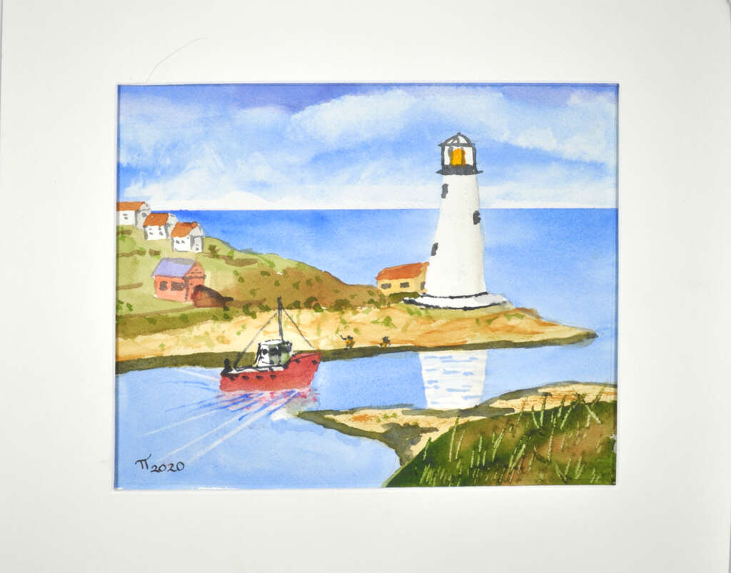 Nova Scotia Maritime painting, signed, with a mat