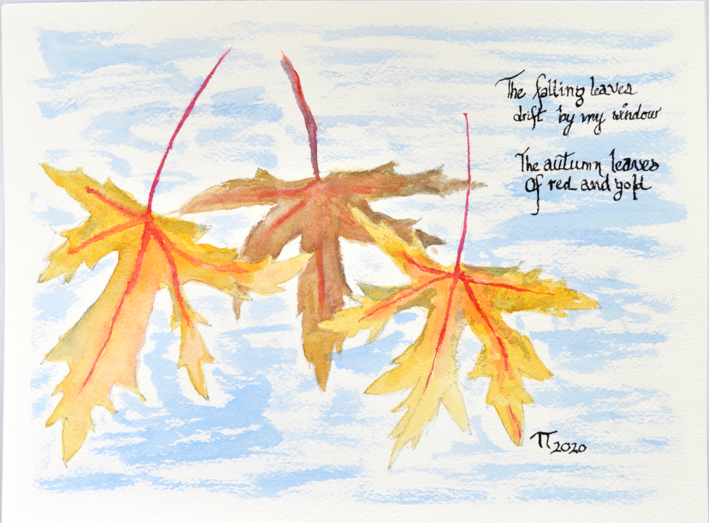 "painting of autumn leaves with first stanza of the lyrics from the song ""Autumn Leaves"""