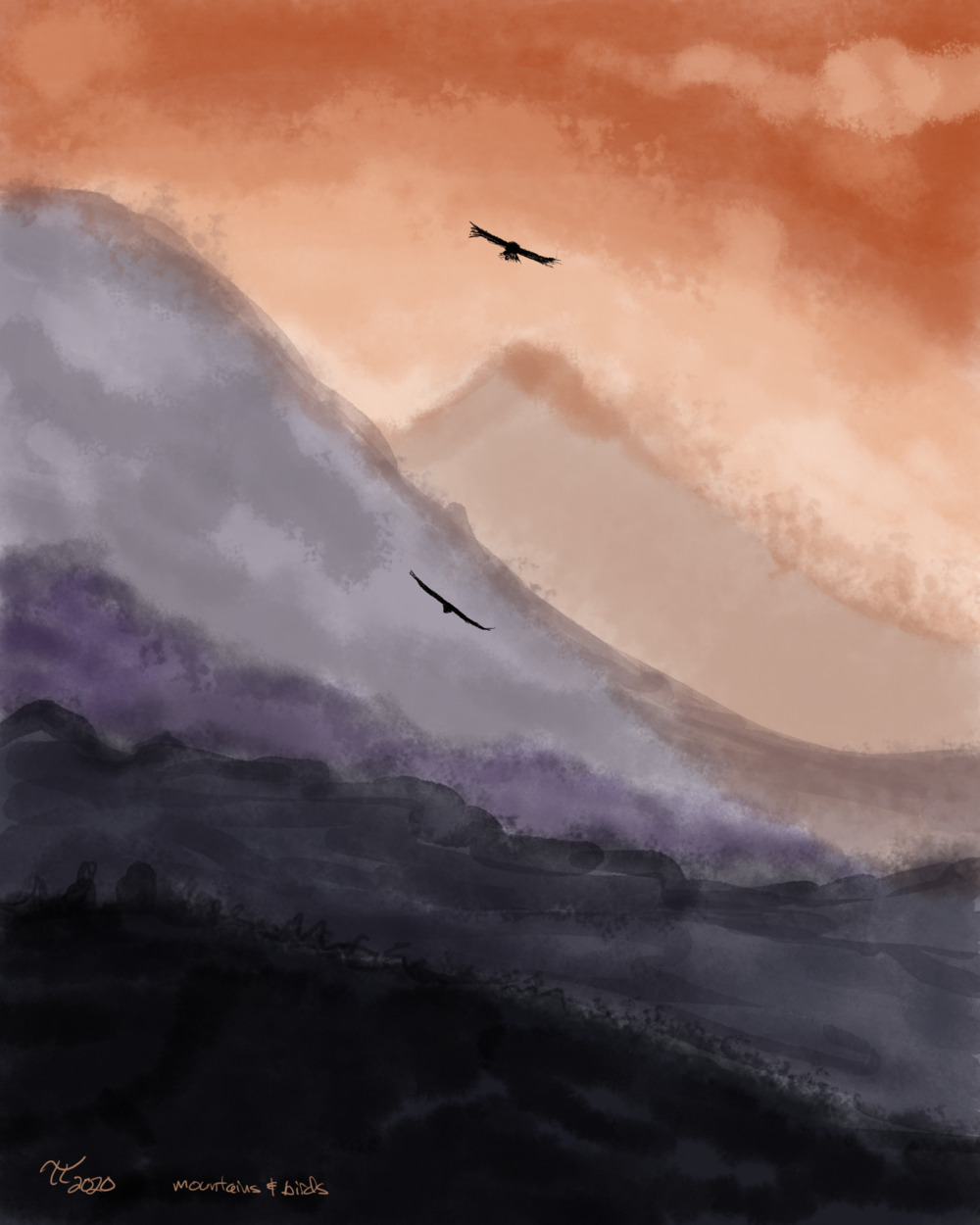 painting of mountains receding, and orange hazy sky, and two birds in silhouette