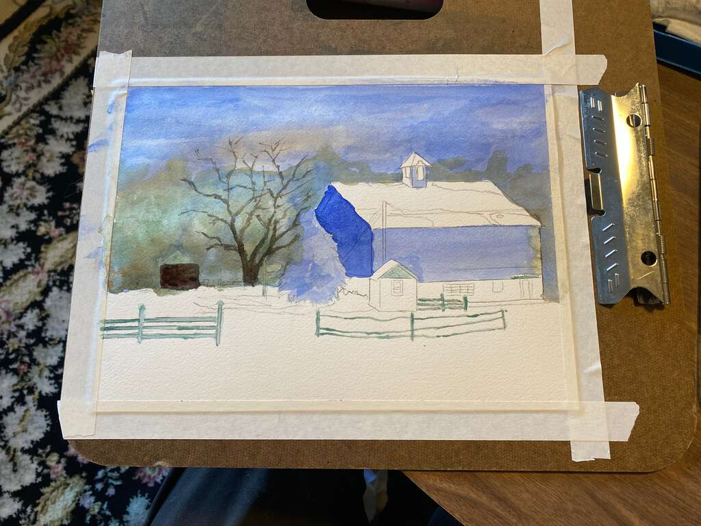 background and some underpainting for the sky, background trees, and the barn