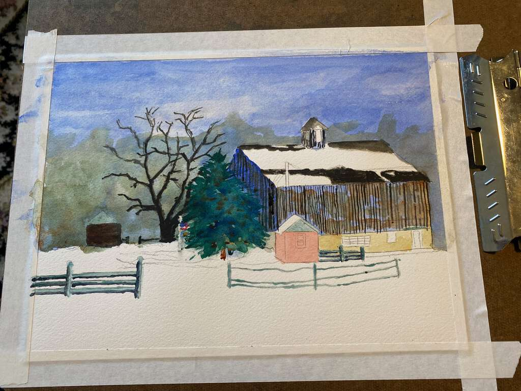 painted the pine tree in the middle, added more details to the barn, fences, outbuildings