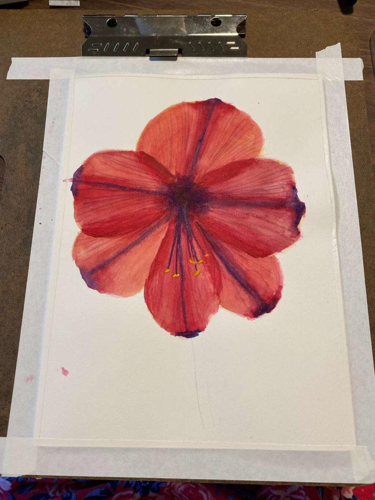 Paint the stamens on the flower, using white gouache and aureolin