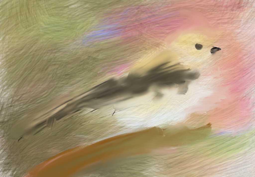 Digital painting of bird in tree