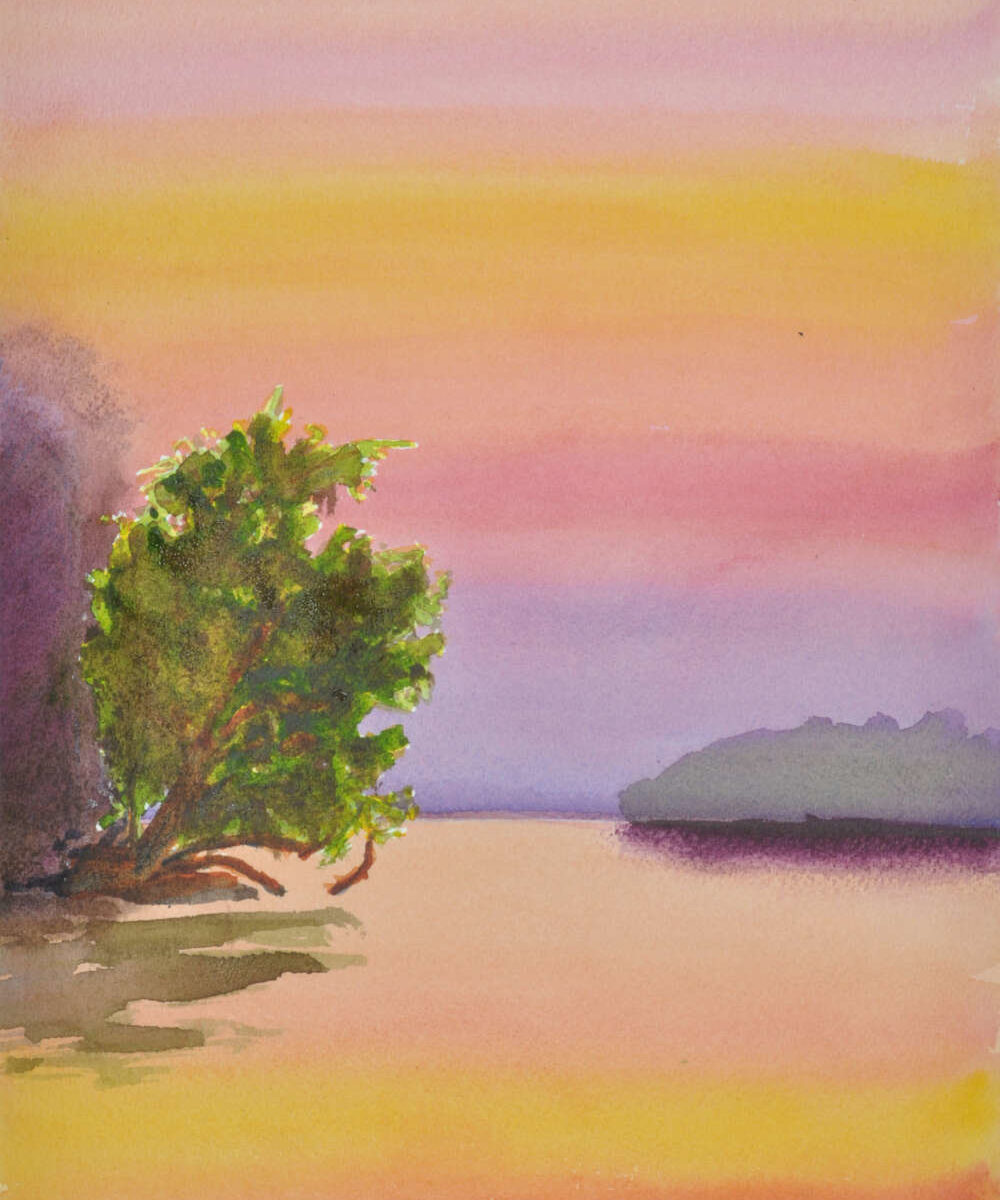 watercolor painting of wisconsin sundown photo by Dave Hoefler