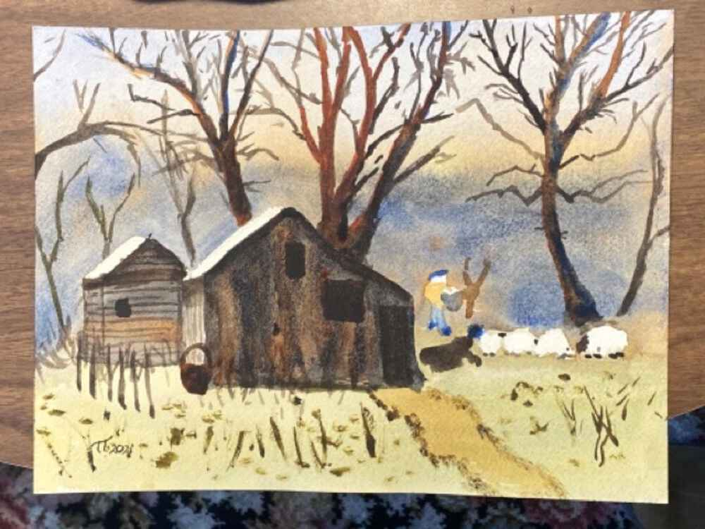 "Painting entitled ""Woodcarver's Barn"" - small barn building, with some sheep and a dog, the woodcarver, trees in the yard, and a far backdrop of trees."