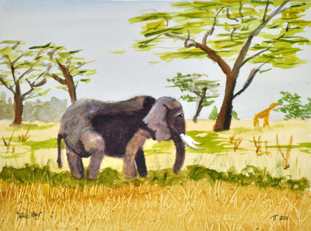 painting of elephant browsing through savanna grass, giraffe in the background, sparse trees around