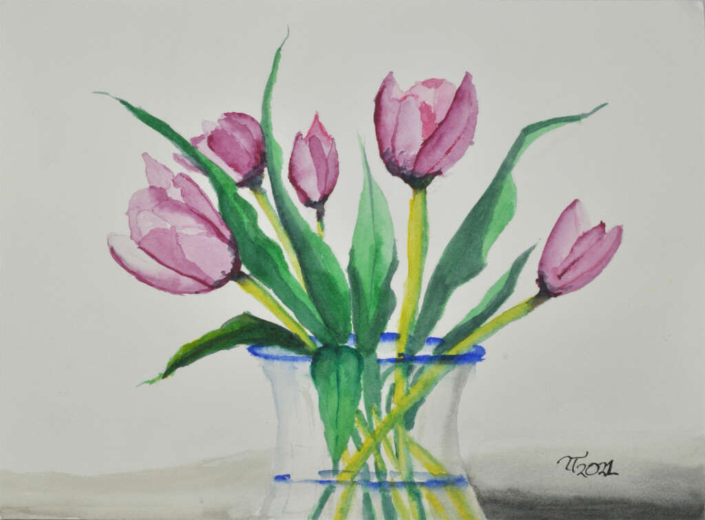 painting of tulips in a glass vase