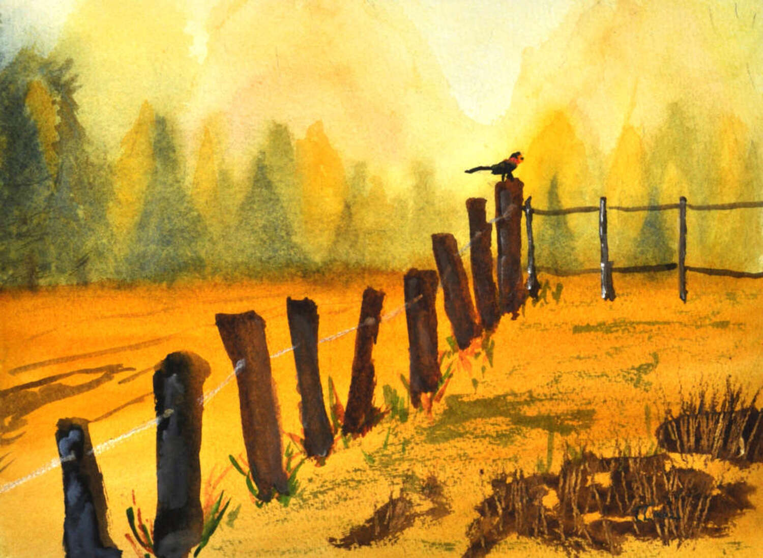 painting of a foggy farm, with a redwing blackbird on a fence post
