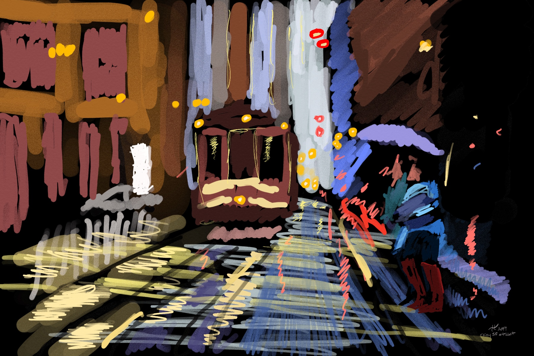 digital painting of a streetcar in san francisco, with people crossing the street