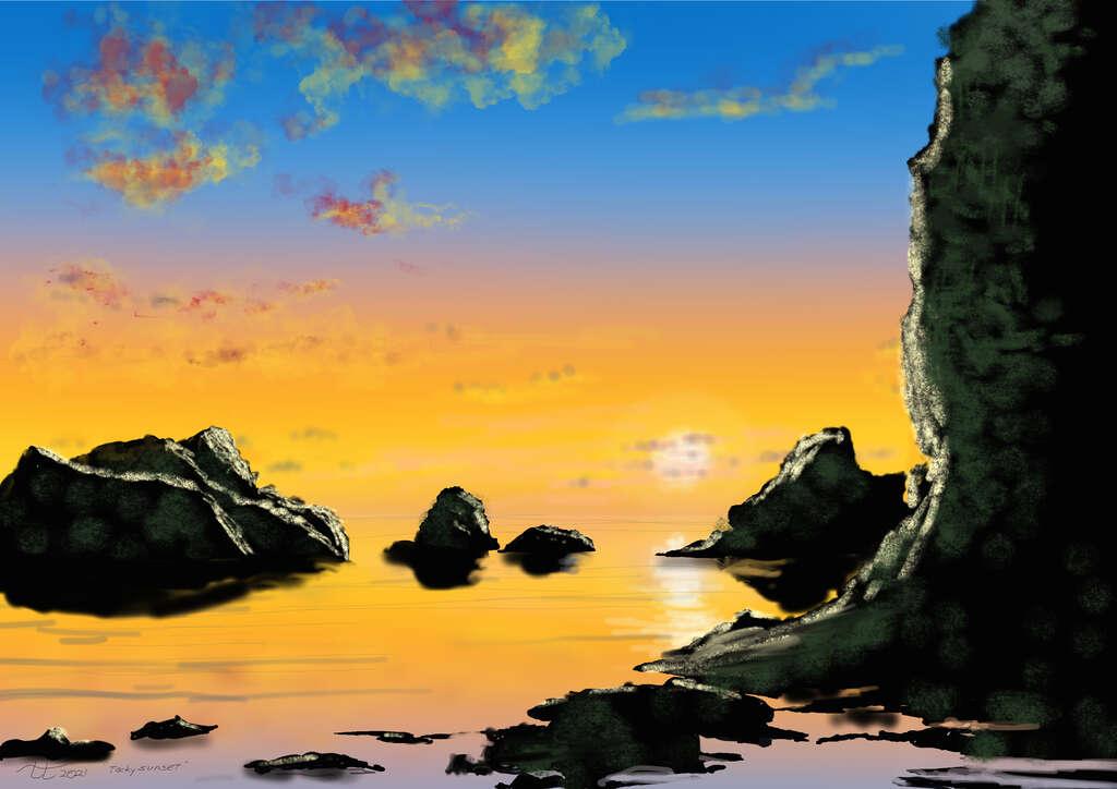"digital painting ""Rocky Beach at Sunset"""
